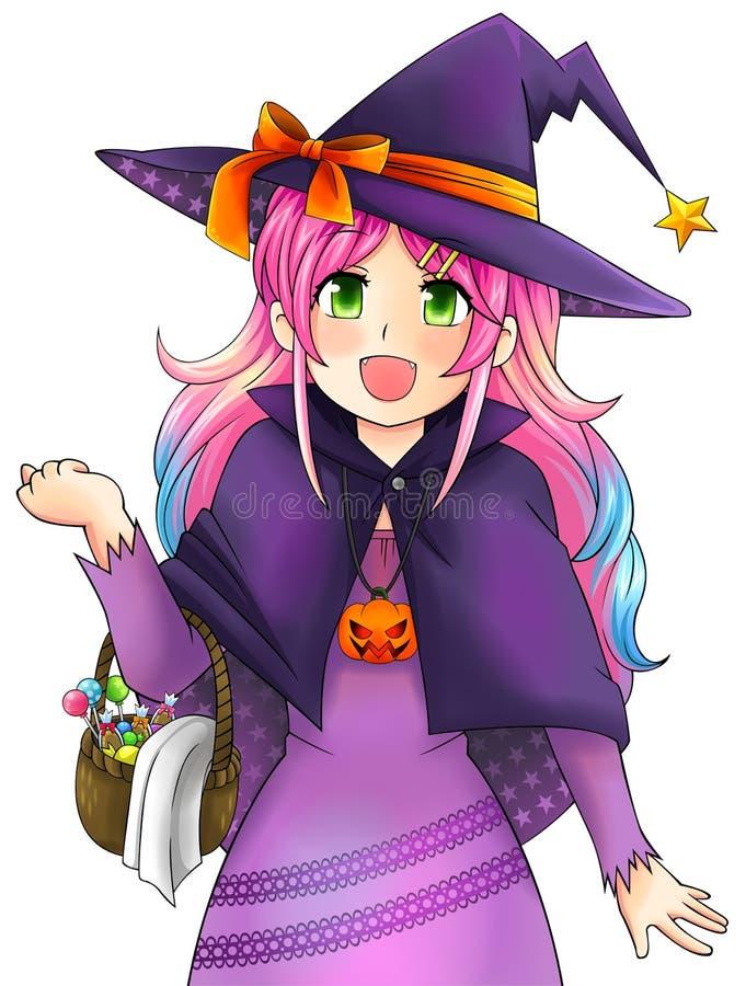 Милая ведьма хеллоуина в японском стиле manga, создается vec иллюстрация вектора