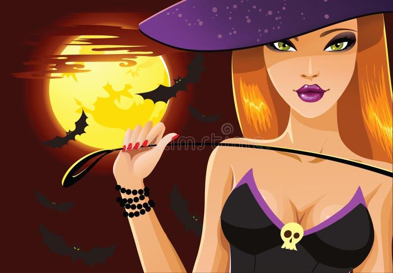 милая ведьма halloween иллюстрация вектора