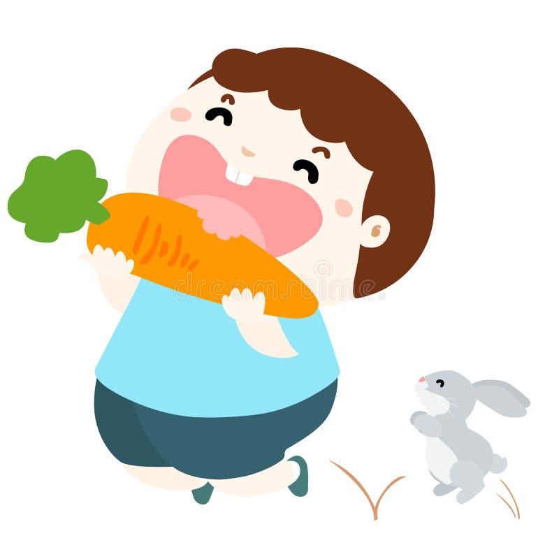 Милая влюбленность мальчика для еды vegetable иллюстрации иллюстрация вектора