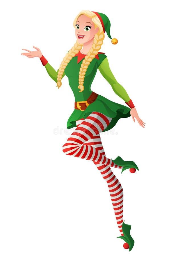 Милая девушка в зеленом костюме эльфа рождества представляя и летая бесплатная иллюстрация