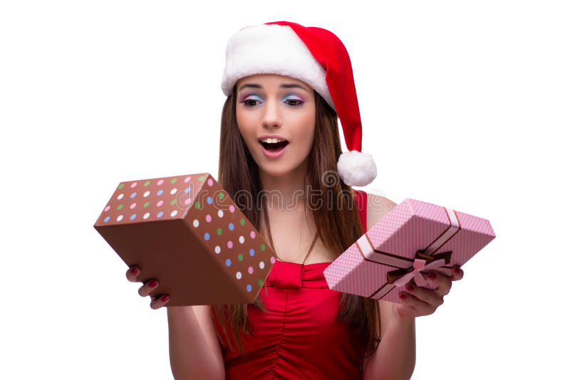 Милая девушка в концепции рождества изолированная на белизне стоковая фотография rf