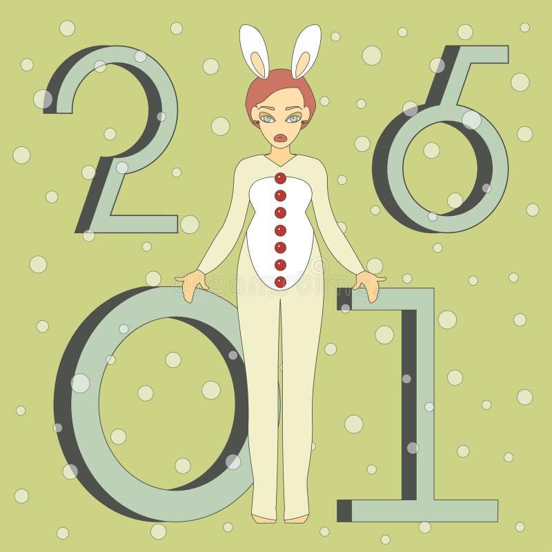 Милая девушка в костюме кролика бесплатная иллюстрация