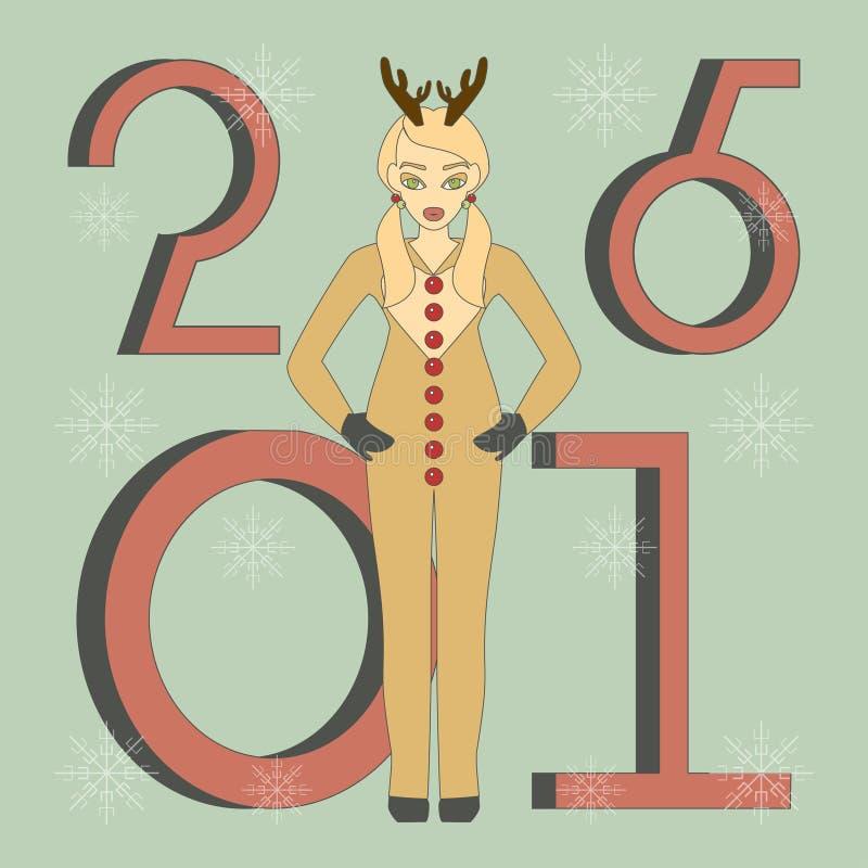 Милая девушка в костюме оленей иллюстрация вектора