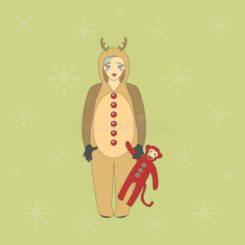 Милая девушка в костюме оленя иллюстрация штока
