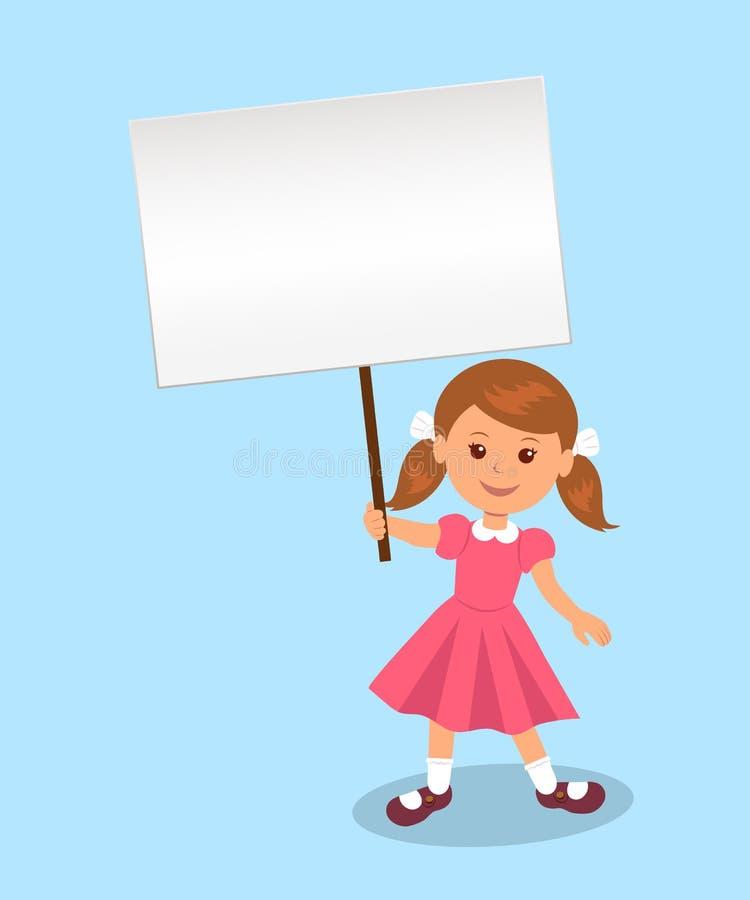 Милая девушка держит плакат для вашего сообщения иллюстрация штока