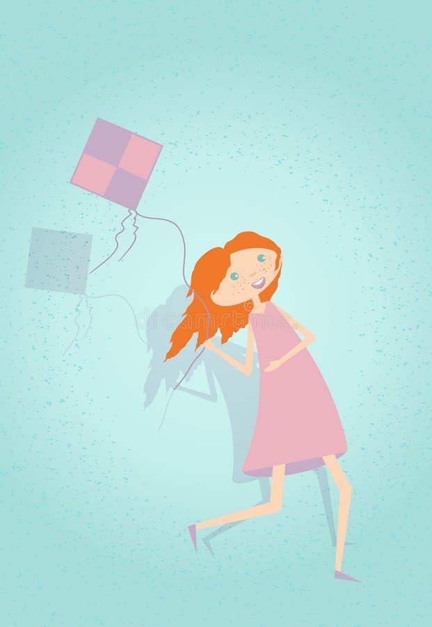 Милая девушка имея потеху с змеем также вектор иллюстрации притяжки corel иллюстрация штока