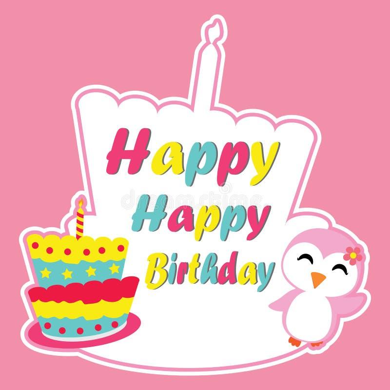 Милая девушка пингвина счастлива на шарже вектора рамки именниного пирога, открытке дня рождения, обоях, и поздравительной открыт бесплатная иллюстрация