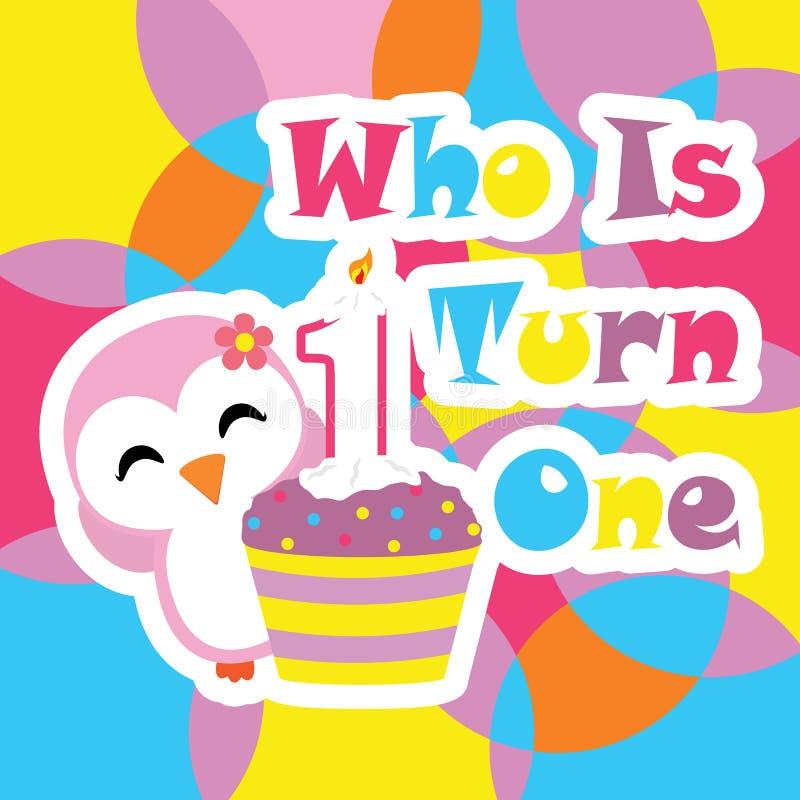 Милая девушка пингвина с шаржем вектора пирожного дня рождения, открыткой дня рождения, обоями, и поздравительной открыткой иллюстрация штока