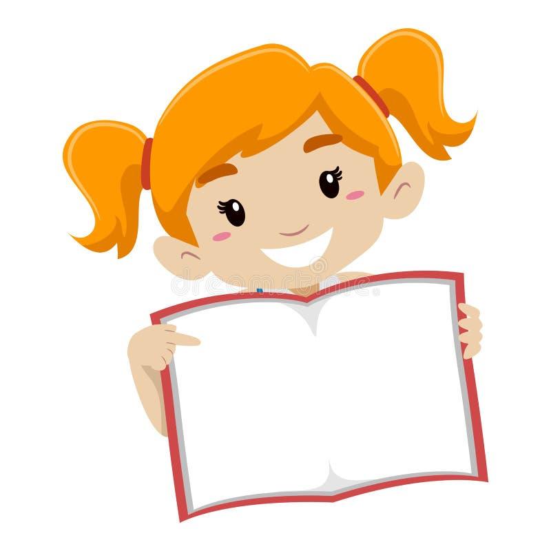 Милая девушка показывая пустую книгу страницы иллюстрация штока