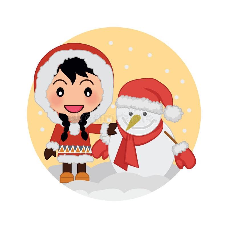 Милая девушка празднуя рождество с снеговиком иллюстрация вектора
