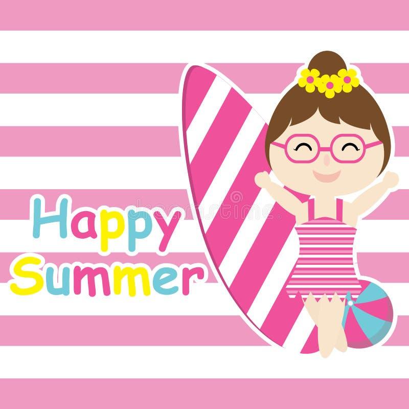 Милая девушка приносит доску серфинга и шарж шарика, открытку лета, обои, и поздравительную открытку бесплатная иллюстрация