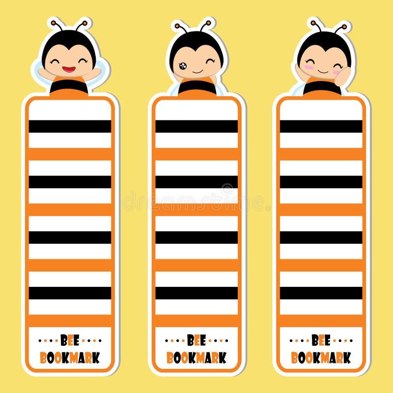 Милая девушка пчелы усмехается на желтой иллюстрации шаржа вектора предпосылки соответствующей для закладки ребенк иллюстрация вектора