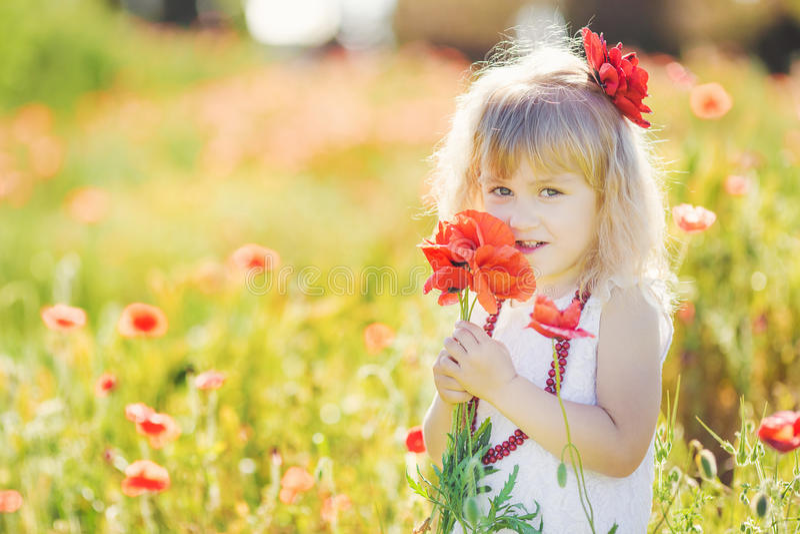 Милая девушка ребенка в поле мака стоковое изображение