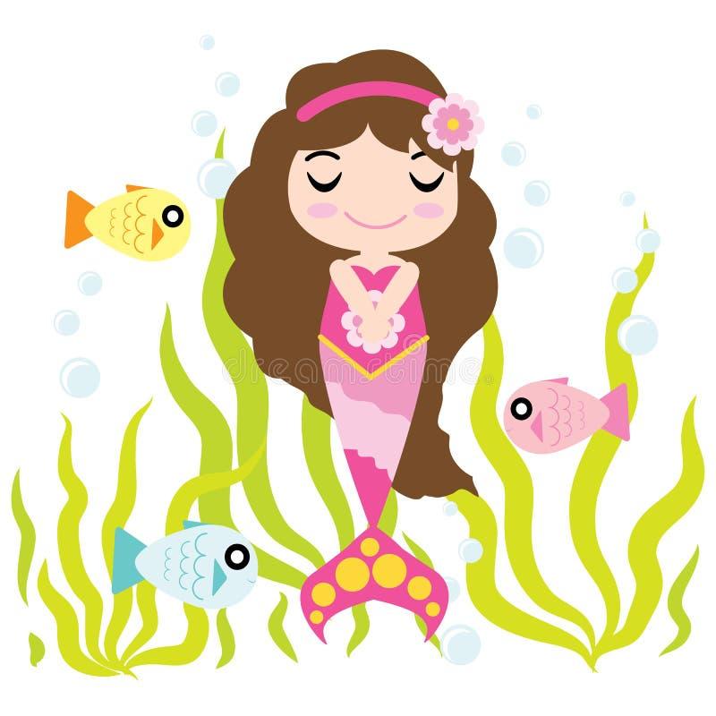 Милая девушка русалки наслаждается временем в шарже воды, открытке ребенк, обоях, и поздравительной открытке бесплатная иллюстрация