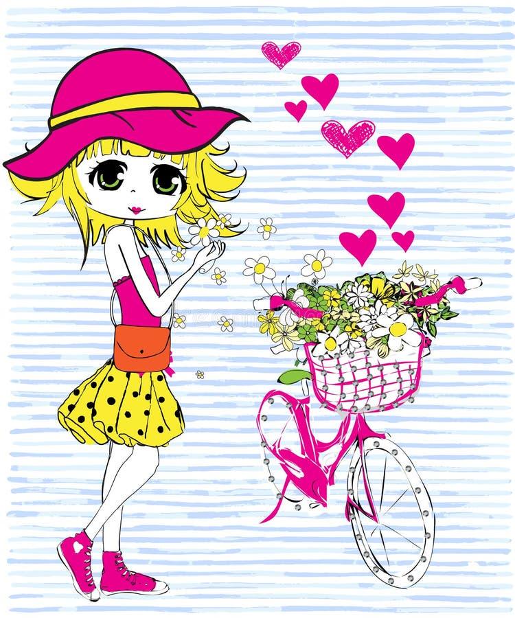 Милая девушка с велосипедом иллюстрация вектора