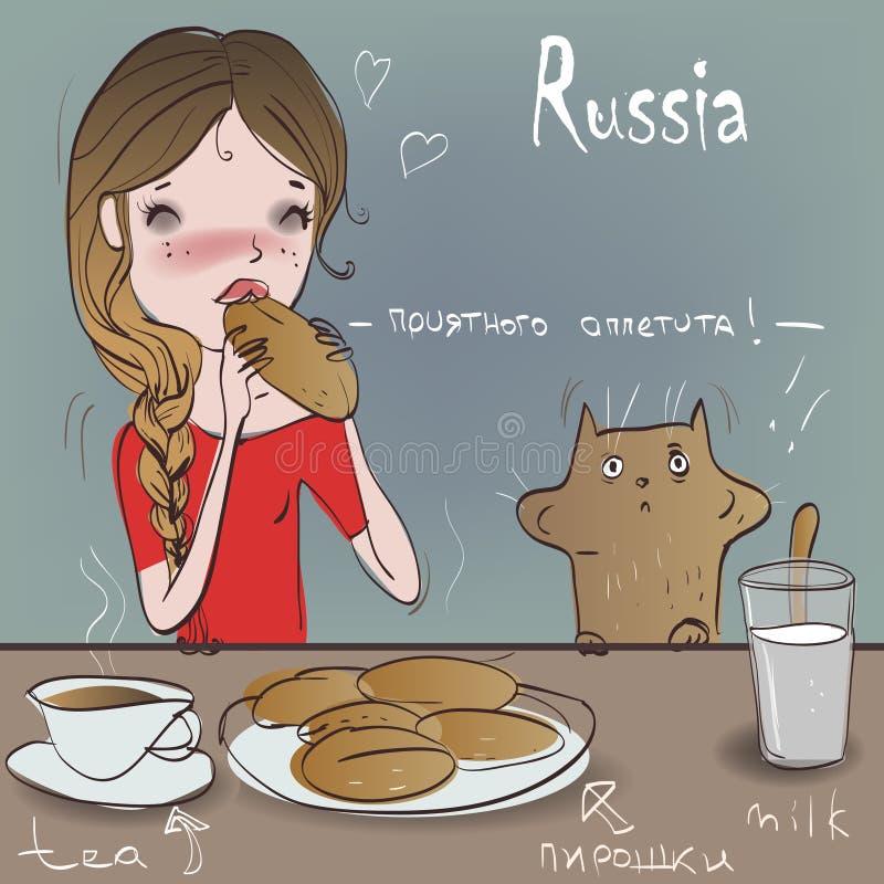 Милая девушка с котом ест бесплатная иллюстрация