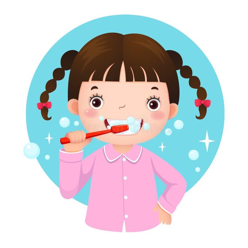 Милая девушка чистя ее зубы щеткой иллюстрация вектора