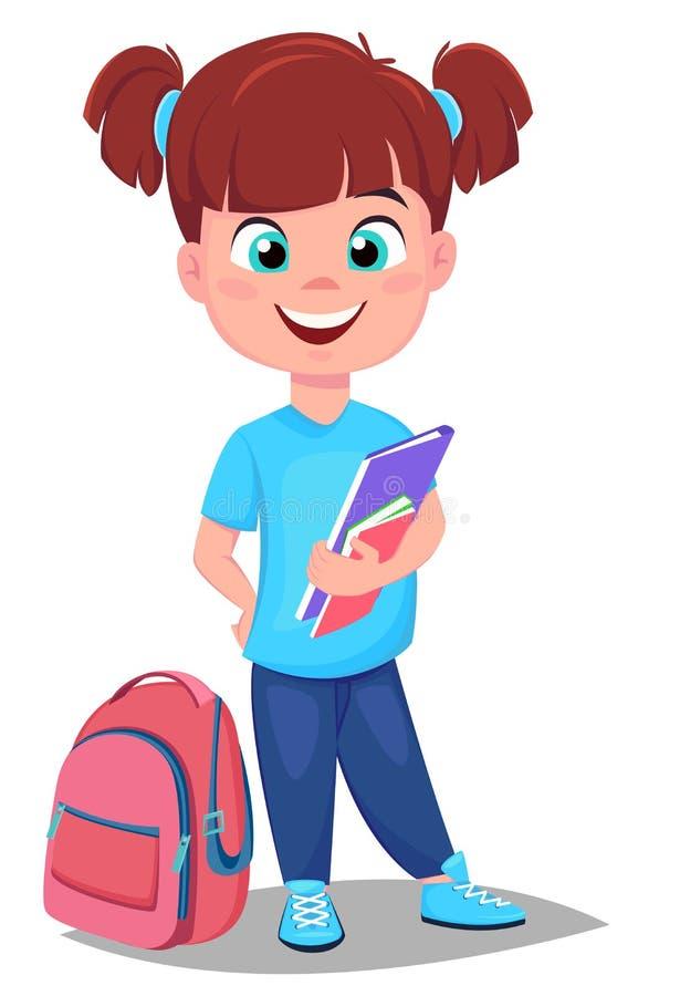 Милая девушка redhead с книгами в вскользь одеждах стоит близко schoo бесплатная иллюстрация