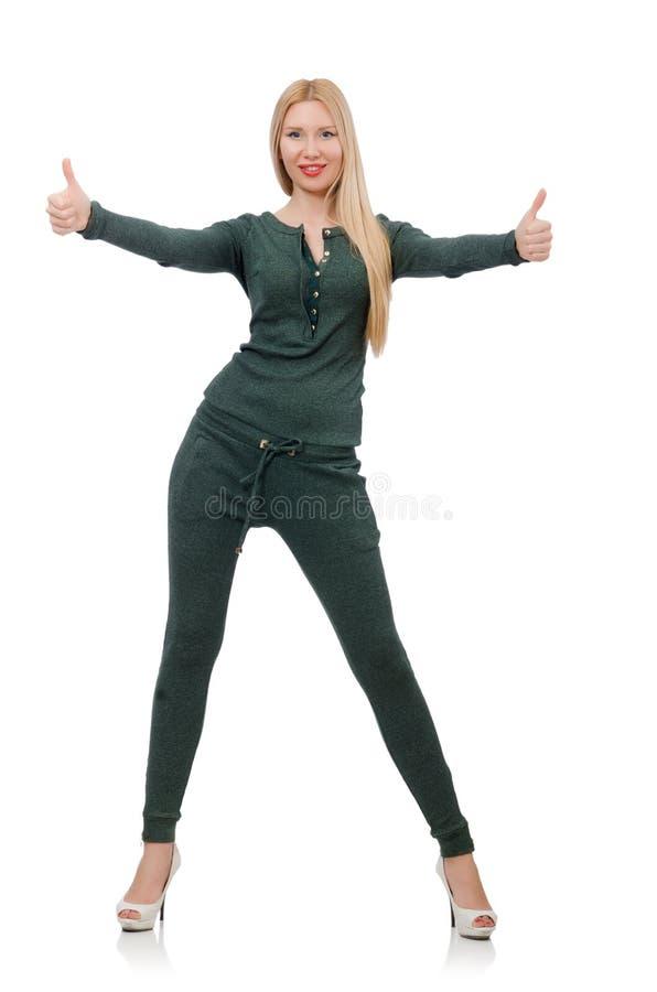 Милая женщина в зеленой одежде изолированной на белизне стоковые фотографии rf