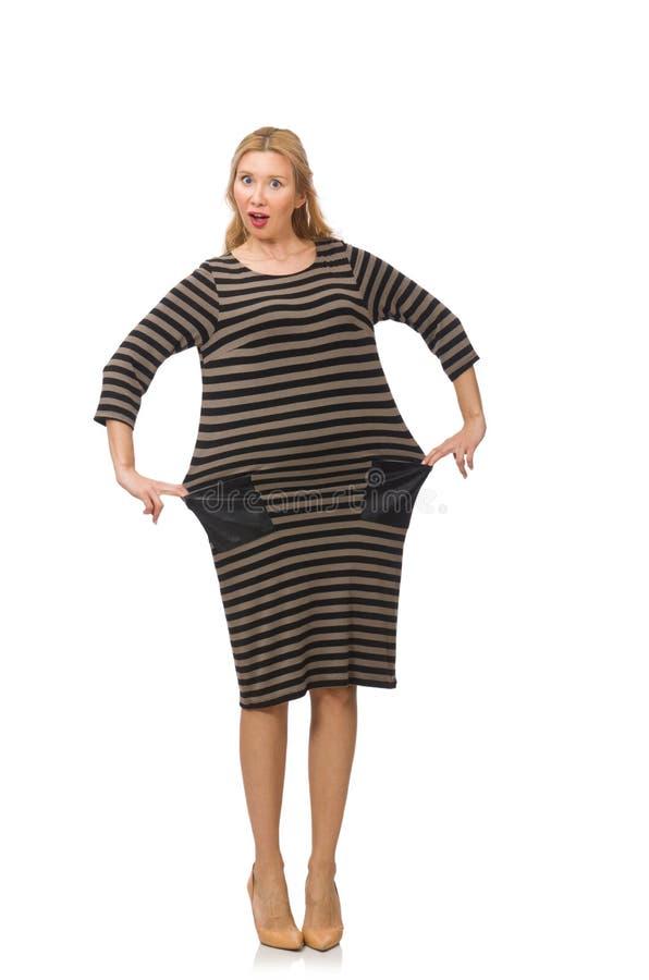 Милая женщина в коричневом платье изолированном на белизне стоковые фотографии rf
