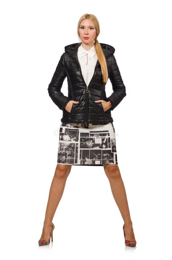 Милая женщина в куртке болонья изолированной на белизне стоковые фотографии rf
