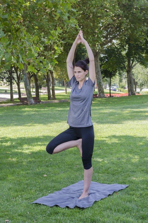 Милая женщина делает тренировки йоги стоковая фотография rf