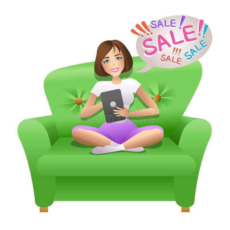 Милая женщина занимаясь серфингом в интернете с ее таблеткой и делая ходить по магазинам онлайн бесплатная иллюстрация