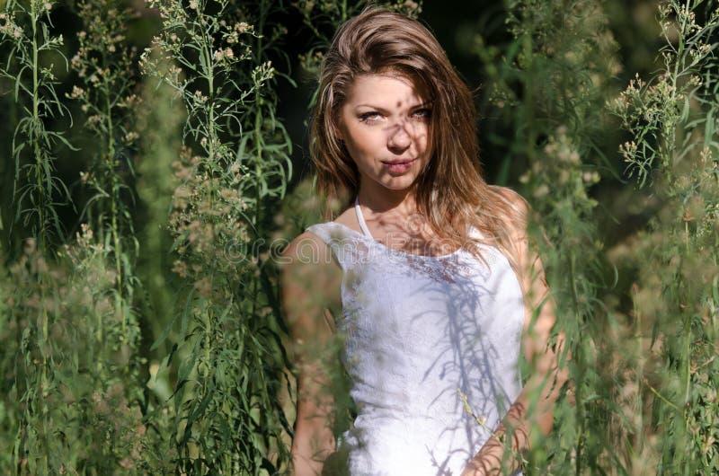 Милая женщина, красивые моменты в природе стоковые изображения rf