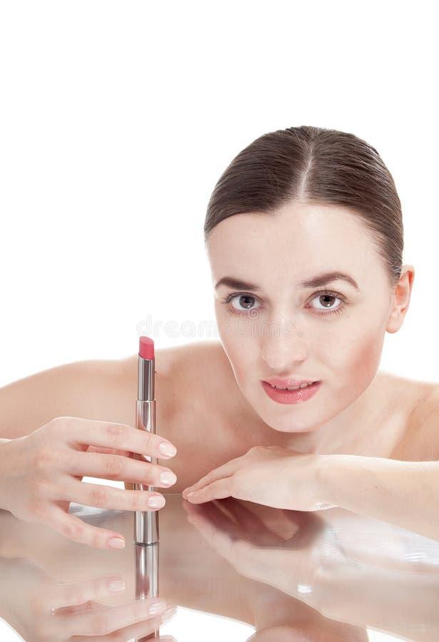 Милая женщина с красной губной помадой. стоковая фотография rf