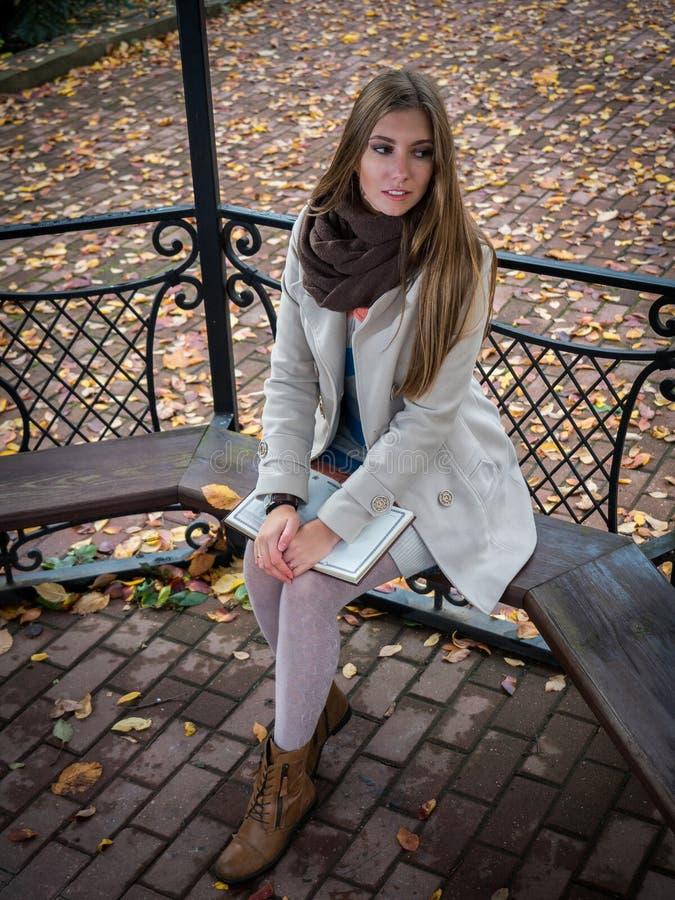 Милая женщина yong сидя в беседке в парке осени стоковые фотографии rf