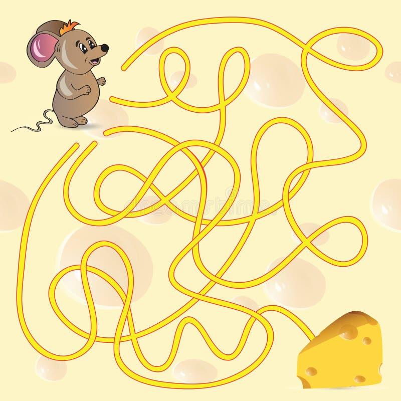 Милая игра лабиринта мыши иллюстрация штока