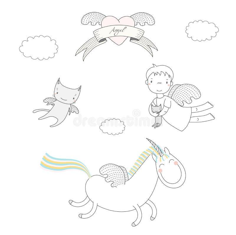 Милая иллюстрация ангелов иллюстрация штока