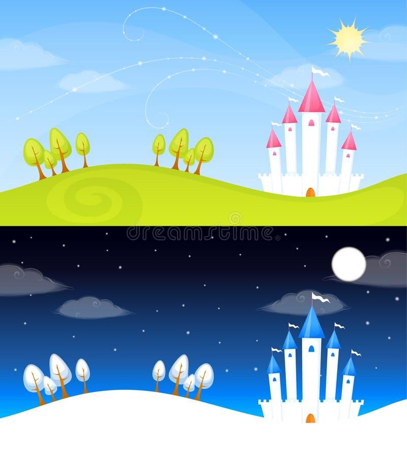 Милая иллюстрация ландшафта лета или зимы с замком сказки иллюстрация вектора