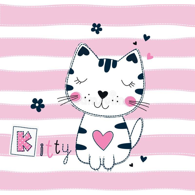 Милая иллюстрация вектора с смешным котом для детей конструирует иллюстрация штока