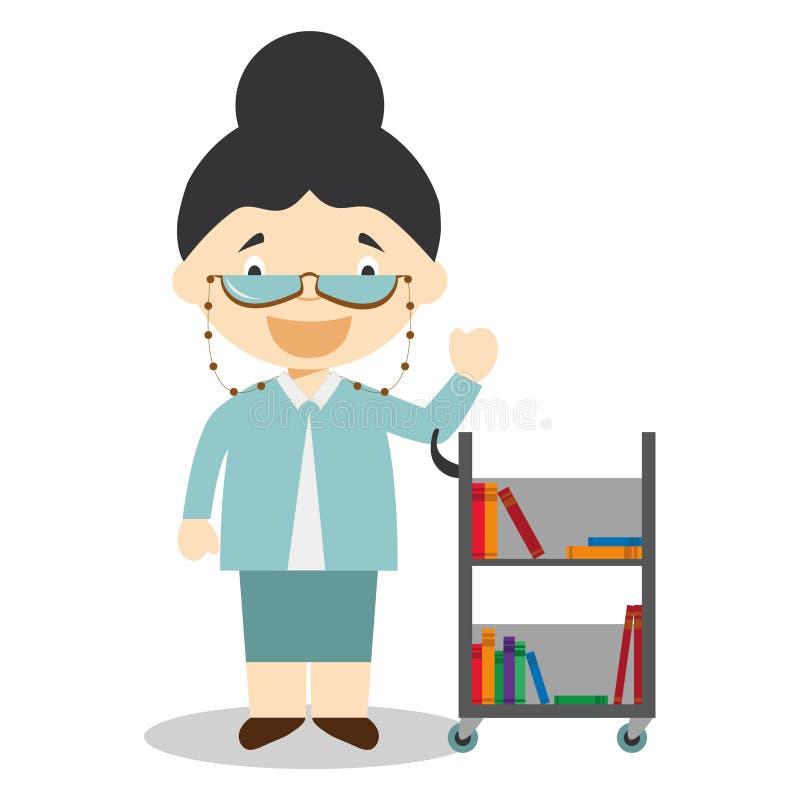 Милая иллюстрация вектора шаржа библиотекаря бесплатная иллюстрация