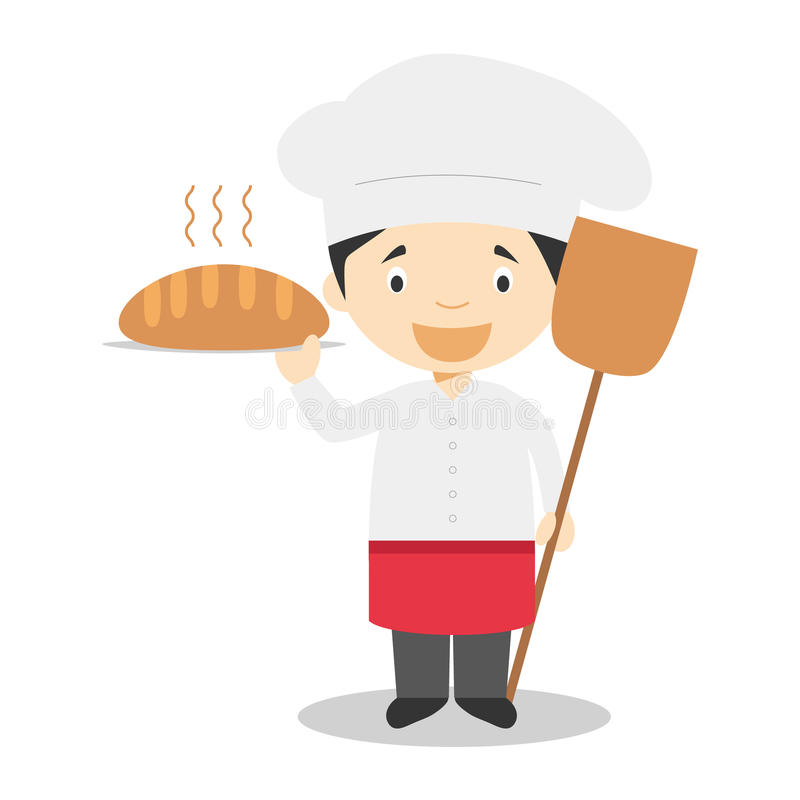 Милая иллюстрация вектора шаржа хлебопека бесплатная иллюстрация