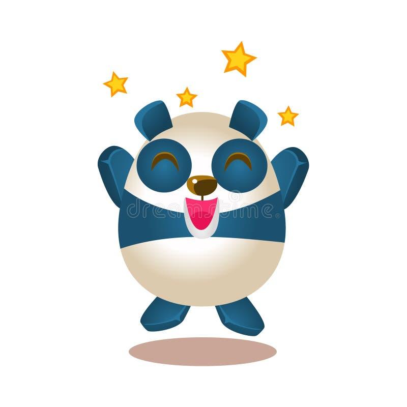 Милая иллюстрация деятельности при панды с Humanized скакать характера медведя шаржа возбужденный и восторженный иллюстрация вектора