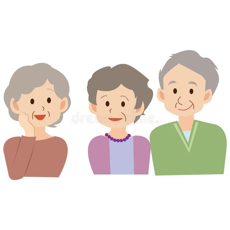 Милая иллюстрация старших людей иллюстрация штока