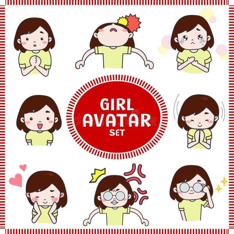 Милая иллюстрация шаржа значка воплощения девушки и женщины установила 2 иллюстрация вектора