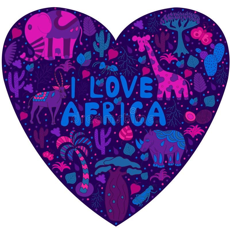 Милая картина Африки в силуэте сердца с дикими животными иллюстрация штока