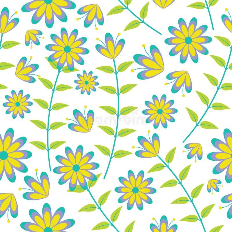 Милая картина голубых и желтых цветков безшовная на белом дизайне вектора предпосылки для ткани одевает предпосылку иллюстрация штока