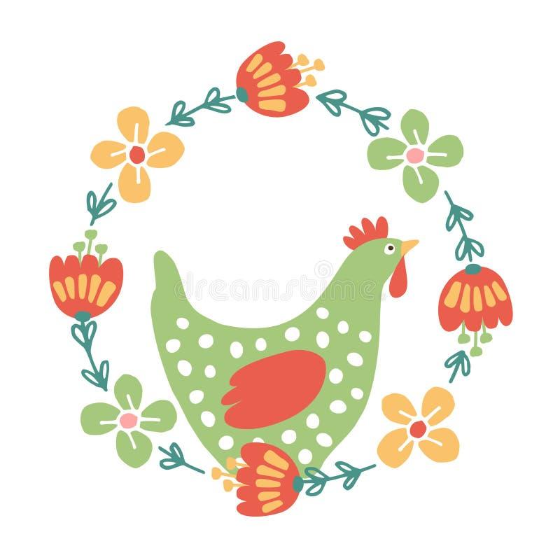 Милая карточка весны пасхи, приглашение с флористическим венком и курица, иллюстрация штока