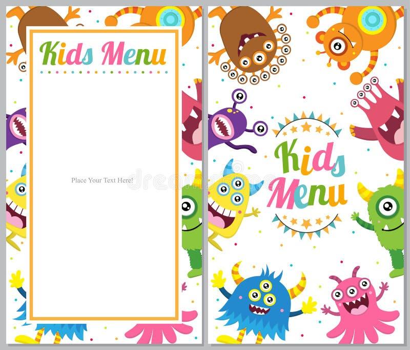Милая карточка меню изверга иллюстрация штока