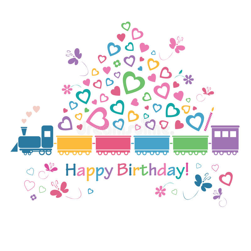Милая карточка поезда с днем рождений иллюстрация штока