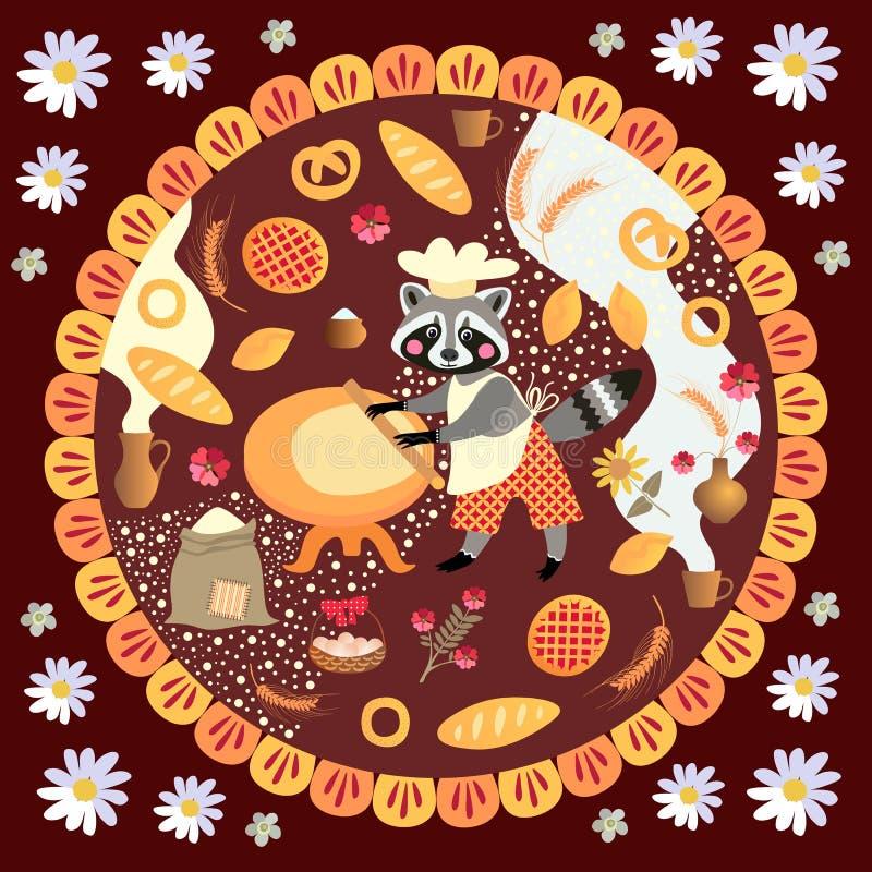 Милая квадратная карточка с продуктами хлебопека и хлебопекарни енота иллюстрация вектора