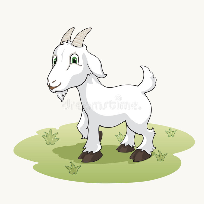 Милая коза шаржа на траве иллюстрация вектора