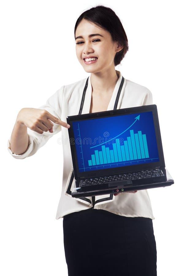 Милая коммерсантка представляя диаграмму выгоды стоковые фотографии rf