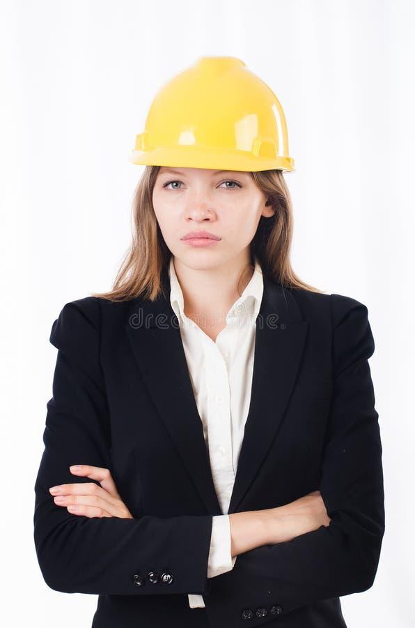 Милая коммерсантка с трудной шляпой стоковое фото rf