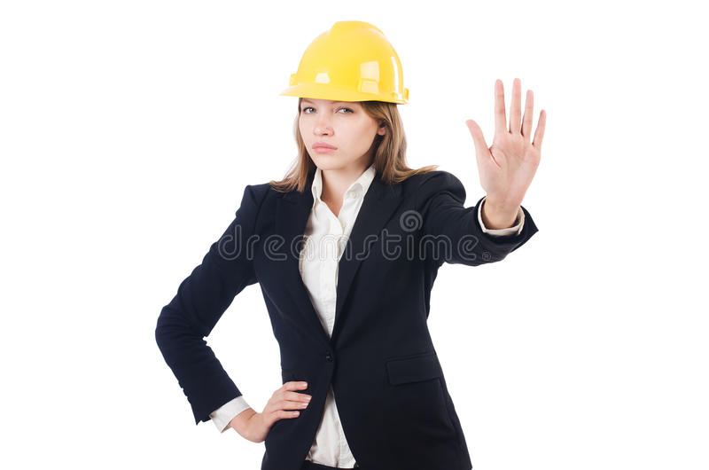 Милая коммерсантка с трудной шляпой стоковое изображение