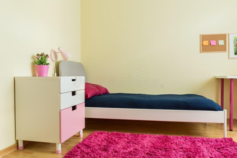 Милая комната с розовым ковром стоковое фото rf